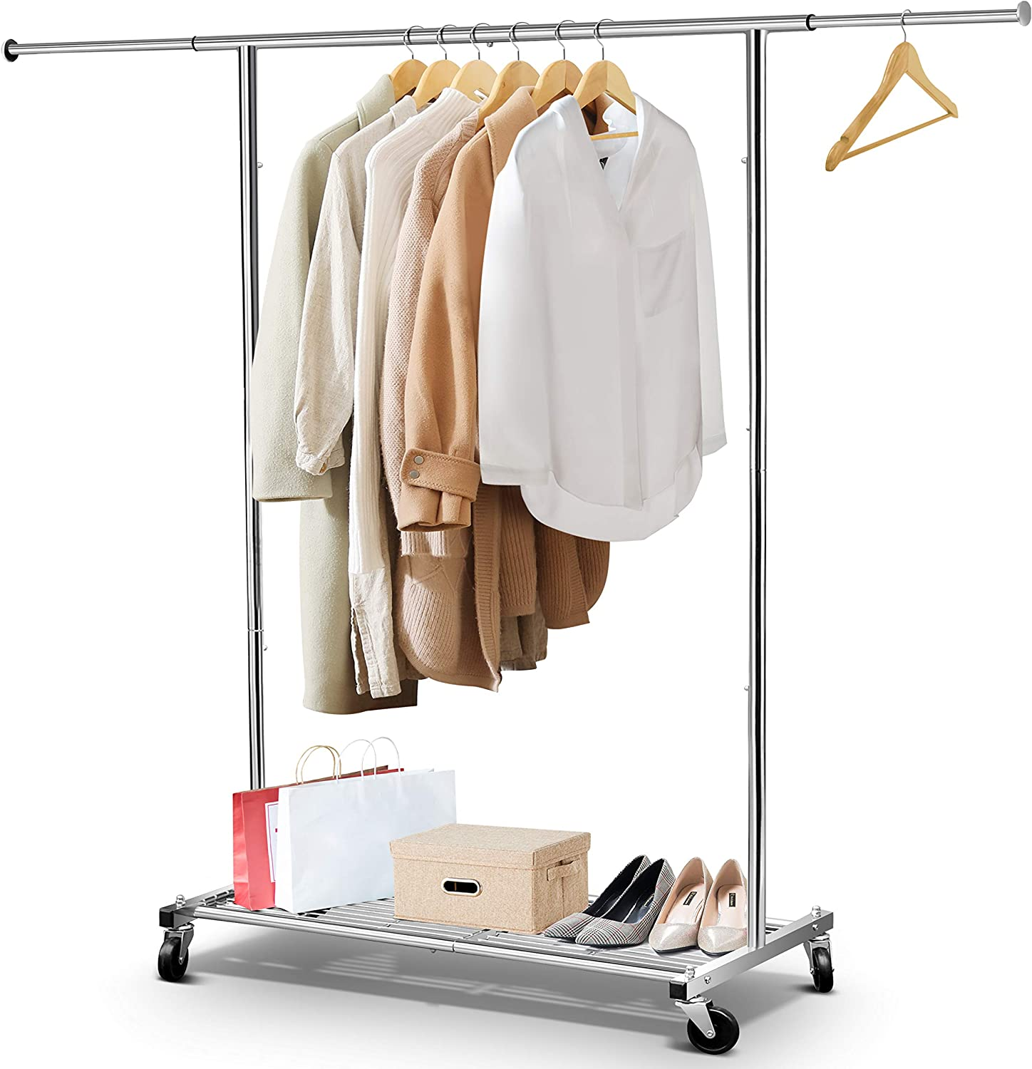 Simple Trending Clothes Garment Rack, Heavy Duty Commercial Grade Clothing Rolling Rack with Mesh Storage Shelf on Wheels and Extendable Hanging Rail, Holds up to 150 lbs, Chrome