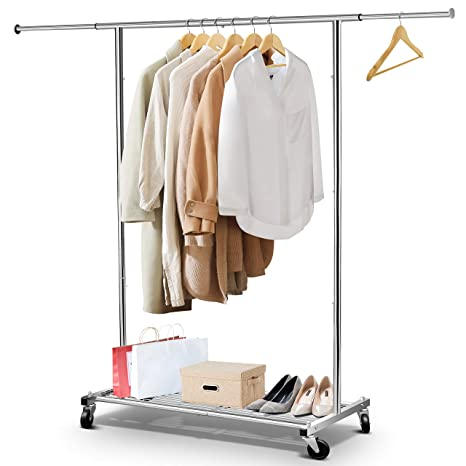 Simple Trending Clothing Garment Rack with Wheels and Bottom Shelves, Extendable, Capacity 150 lbs, Chrome