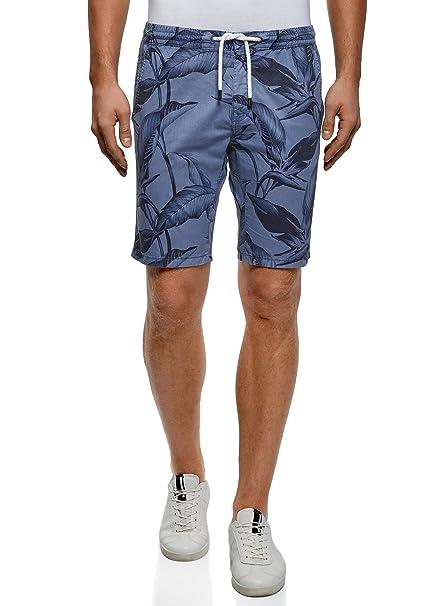 oodji Ultra Hombre Pantalones Cortos Estampados con Cordones ZwxDJeV1ue