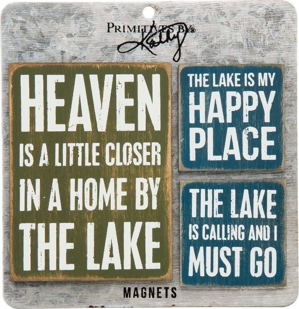 Primitives by Kathy Wooden Magnet Set, Lake