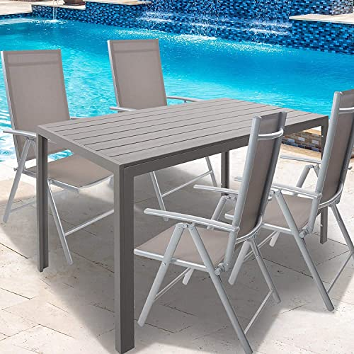 Patio Dining Table Outdoor Aluminum Rectangle Table,All Weather Resistant,Size 55.1 L X 31.5 W X 28.3 H,Gray
