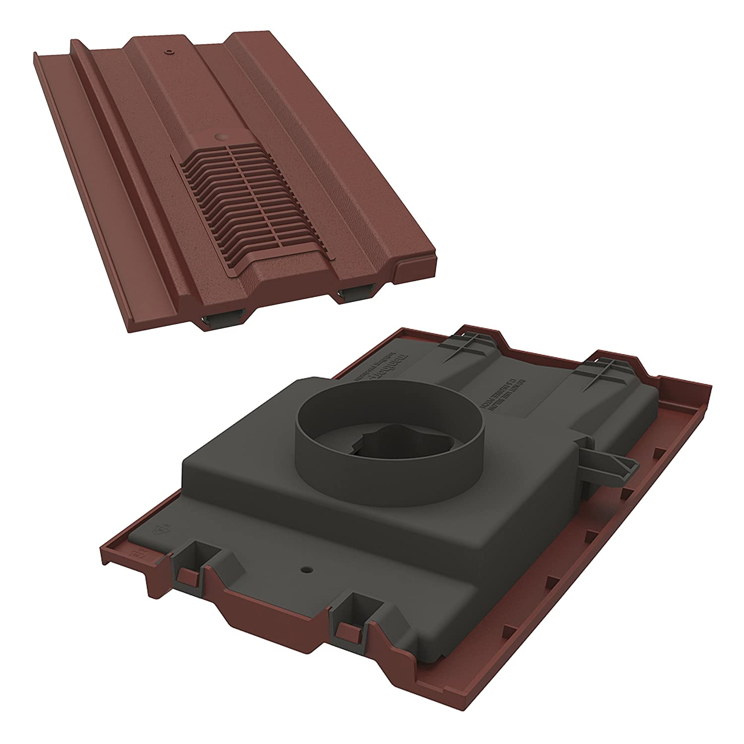Manthorpe Roof Tile Vent With Pipe Adaptor 15' x 9' To Fit Marley Ludlow Plus, Redland 49, Forticrete V2 Antique Red Textured
