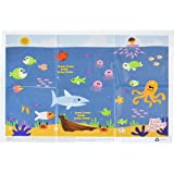 Disposable Placemats Table Topper 60 Mats for Children Kids Toddlers Baby perfect use as Restaurants Place mats BPA Free Eco Friendly Sticks to Table Avoid Germs Fun Underwater Design Keep Neat Now!