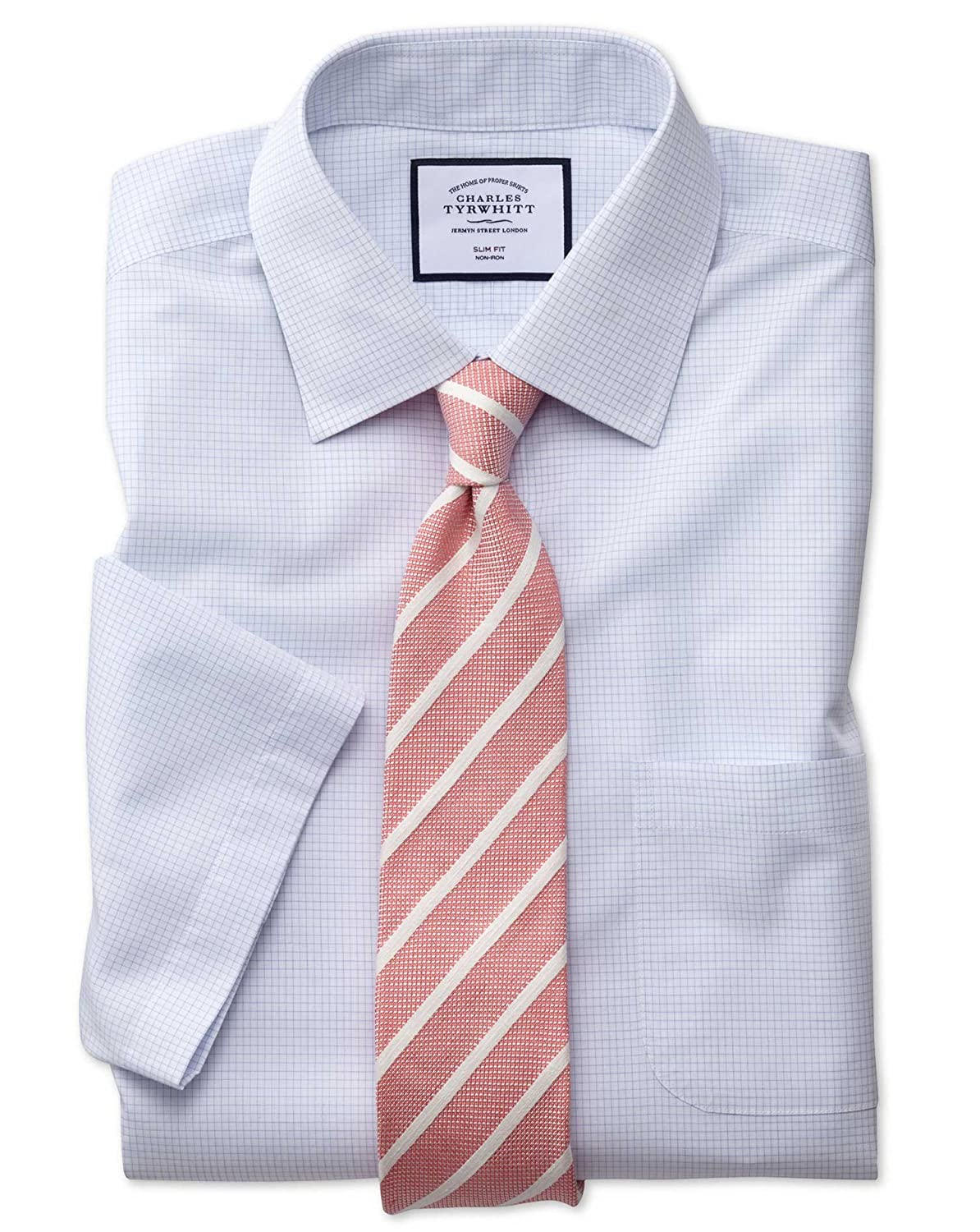 4180ab67f0f Classic Fit Non-Iron Micro Check Short Sleeve Blue Cotton Formal Shirt by  Charles Tyrwhitt  Amazon.co.uk  Clothing