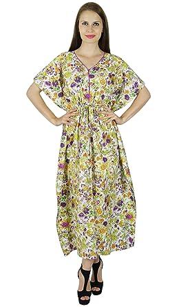 cc746607b2c Bimba Women Long Floral Cotton Kaftan Sleep Maxi Gown Summer Caftan Coverup Off  White  Amazon.co.uk  Clothing