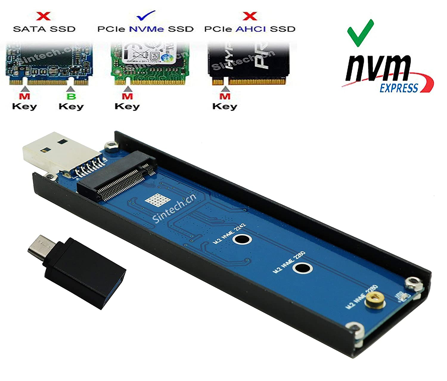 M.2 NVMe M-Key PCIe SSD to USB 3.0 Adapter Enclosure Case for 960 970 Evo Pro