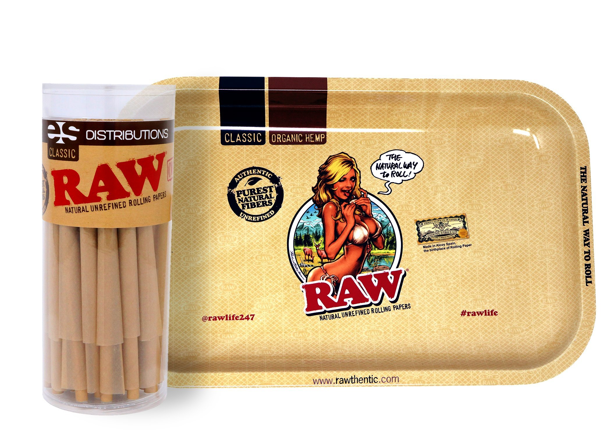RAW Girl Design Metal Rolling Tray (Small) Bundle with 50 Classic King Size Pre-Rolled Cones