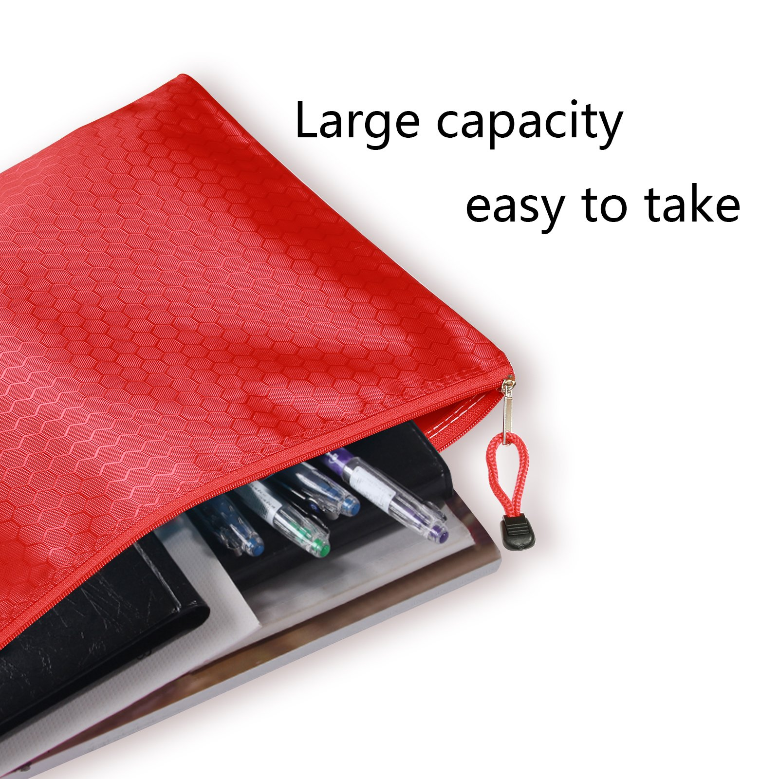 MEZOOM 5 Pcs A4 File Bags Document Pocket Holder Storage Organizer Waterproof Pouch Zipper Files Category Bag for Cosmetics Offices StationeryMEZOOM 5 Pcs A4 File Bags Document Pocket Holder Water