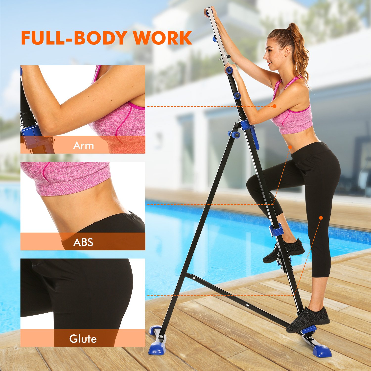 Moroly Vertical Climber 2 in 1 Climbing Stepper Folding Exercise Machine,Fitness Equipment Climber Home Gym Cardio Workout Body Trainer US Stock