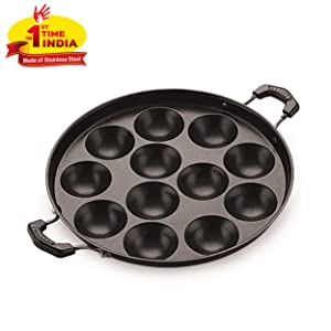 BMS Lifestyle Health-Pro Stainless Steel Non-Stick 12 Cavity Appam Patra Side Handle with lid , Black