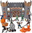 Medieval Castle Knights Action Figure Toy Army Playset with Weapons & Accessories in Storage Bucket