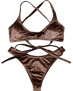 03f3d23ee47a4 OMKAGI Women s Cross Back Ties Thong Bottom Velvet Bandeau Bikini Top  Brazilian Bathing Suit