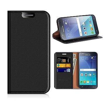 MOBESV Funda Cartera Samsung Galaxy J5 2015, Funda Cuero Movil Samsung J5 2015 Carcasa Case con Billetera/Soporte para Samsung Galaxy J5 2015 - Negro