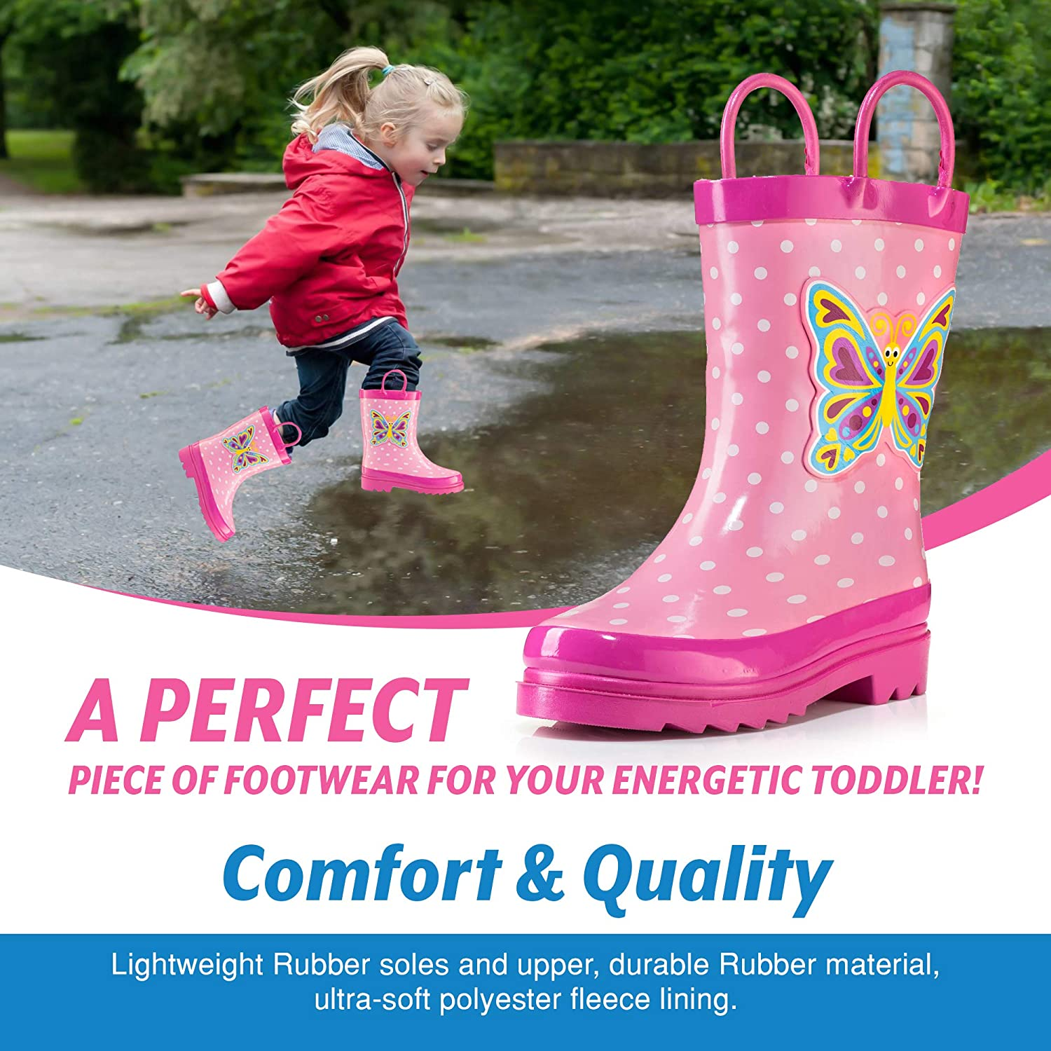 Puddle Play Toddler and Kids Waterproof Rubber Rain Boots with Easy-On Handles Boys and Girls Colors and Designs