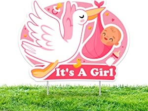 IT'S A Girl Pink Yard Signs with Stakes –Girl Special Delivery - It's A Girl Stork Baby Shower Yard Sign Lawn Decorations - Party Yardy Sign-Welcome Home Baby Lawn Sign- Gender Reveal Baby Shower