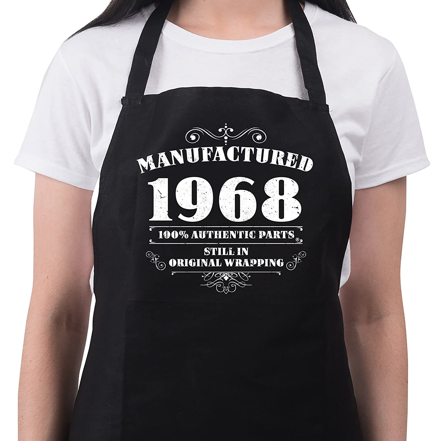 Bang Tidy Clothing 50th Birthday Presents for Women Ladies Gifts Her Funny Apron Manufactured 1968 RA603