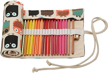 Lápices Estuche enrollable Pencil Wrap lápices bolsa Roll-up de Canvas Estuche portalápices de 48 Slot Cuidado fácil instalación Impresión Boho regalo de cancelleria-luogida, color Gufo 30 48 Slot: (L) X (W) 57x20cm: