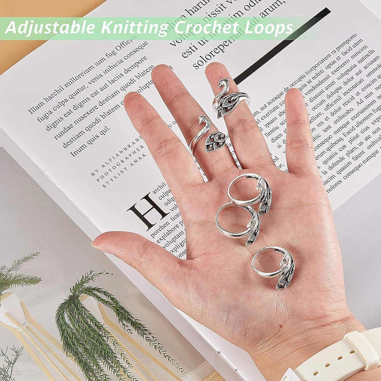 Accesorios Para Manualidades Herramienta 6 Piezas Bucle de ganchillo para tejer gu/ía de hilo soporte para dedos,accesorios para manualidades de dedal de tejer Anillo Phoenix Avanzado