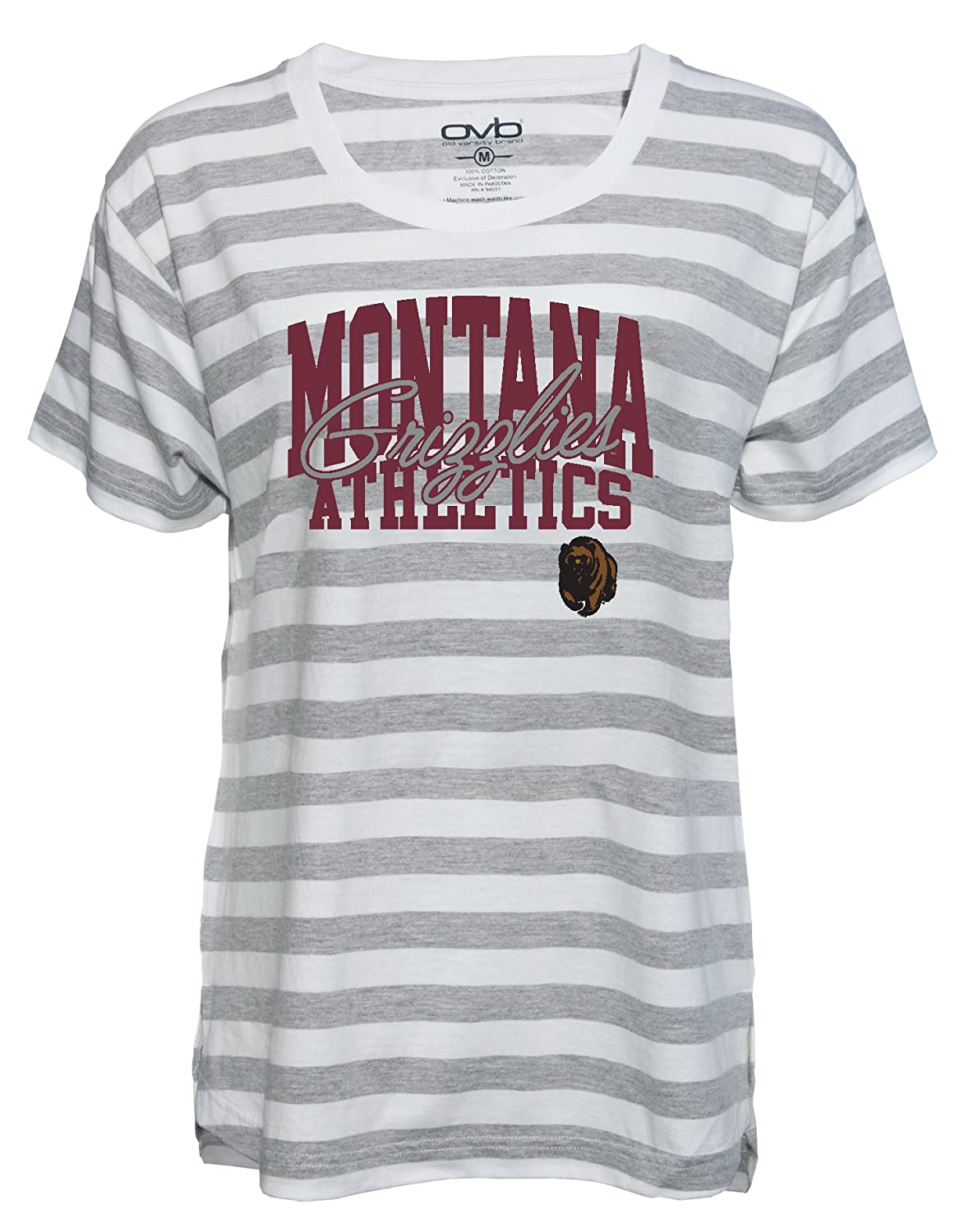 Grey//White XX-Large Old Varsity Brand NCAA Montana Grizzlies Womens Striped Game Day T-Shirt