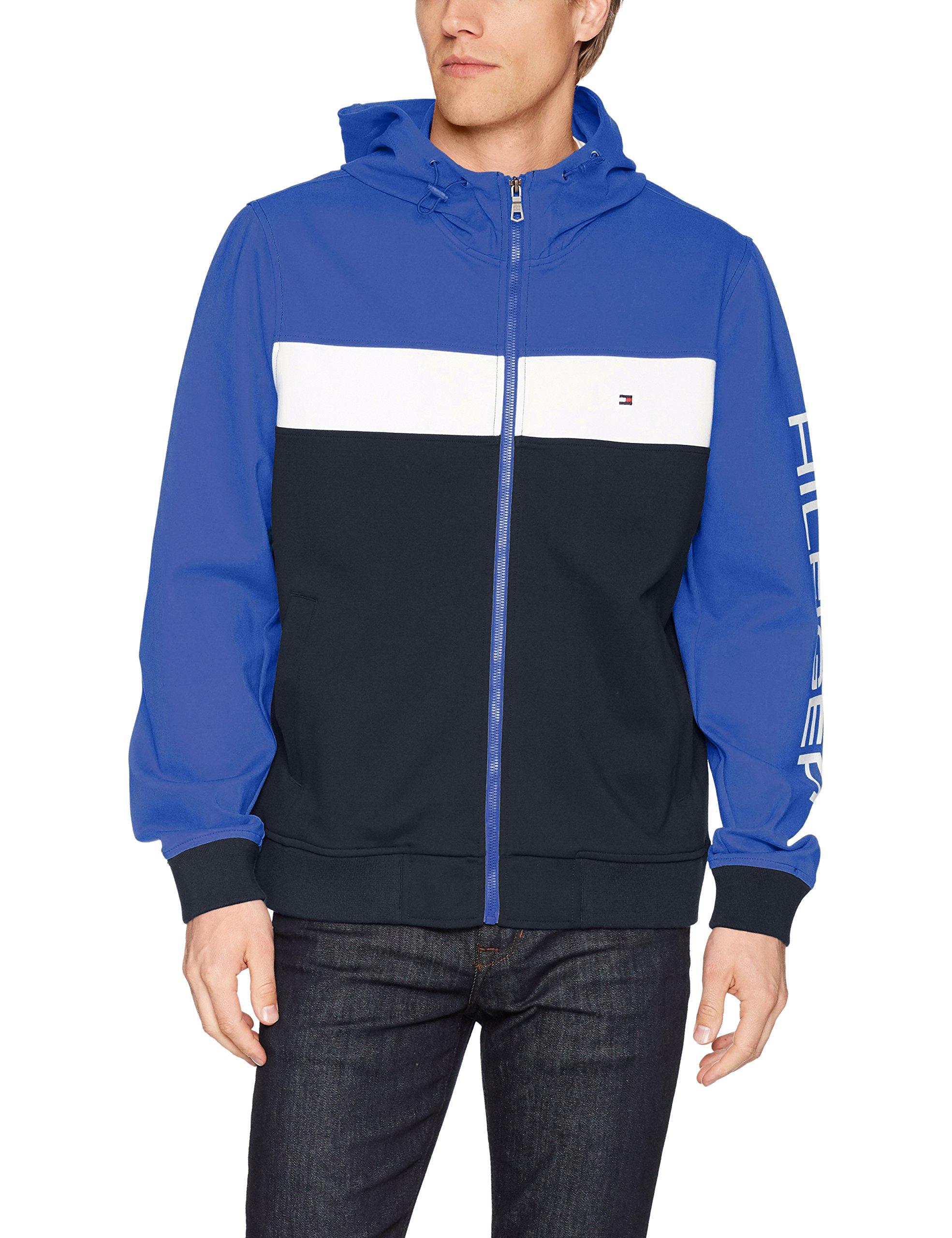 Tommy Hilfiger Men's Retro Colorblocked Hooded Track Jacket, Royal Blue/White/Navy, Large