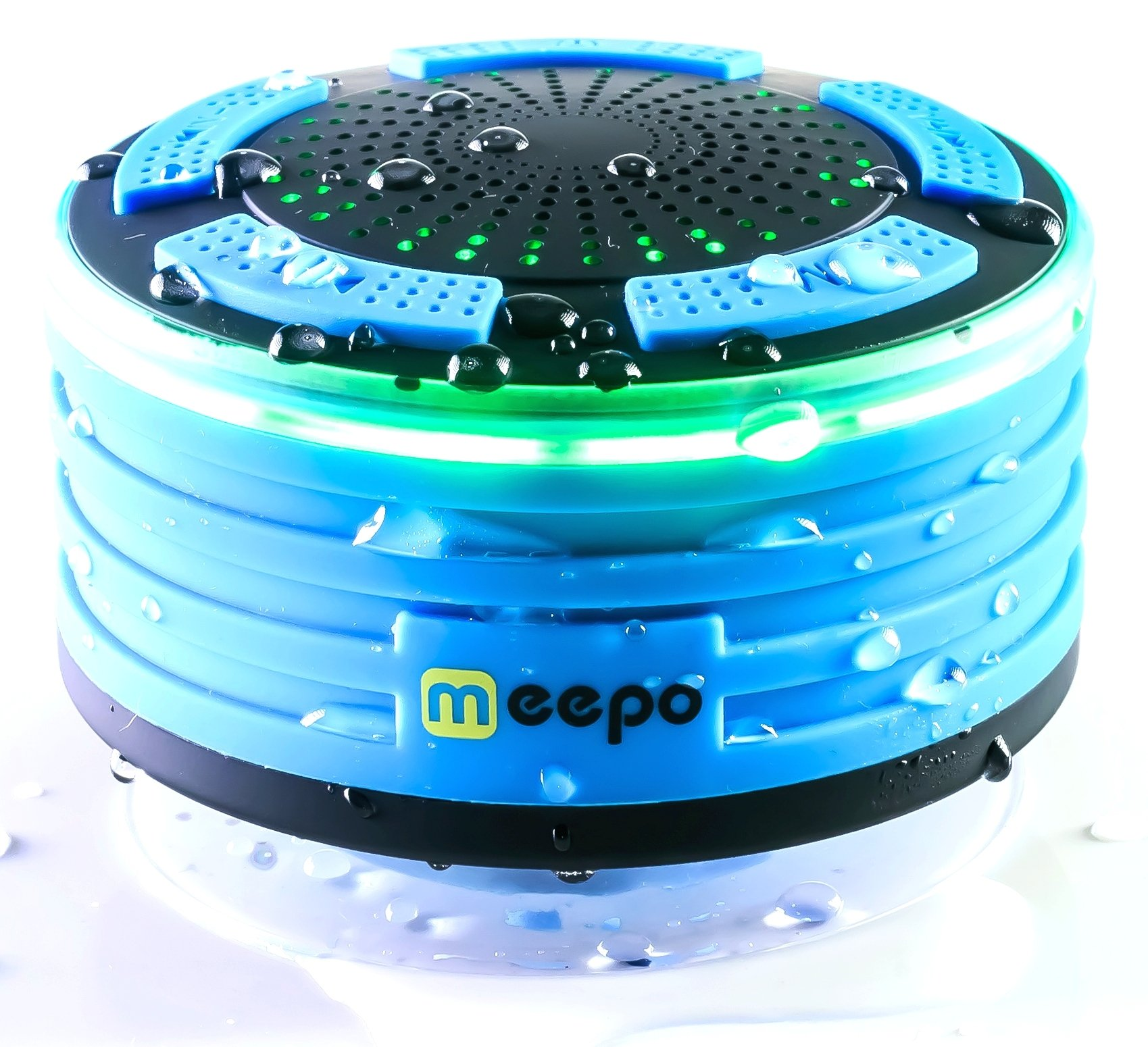 Waterproof Bluetooth Speakers Shower Radio | IPX7 Portable Wireless Shower Speaker with FM Radio and LED Mood Lights | Super Bass + HD Sound for Shower, Pool, Beach, Home, and Outdoor