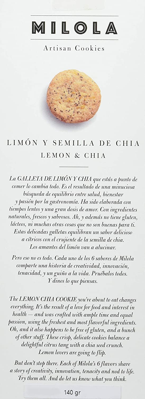 Milola, Galleta de Limón y Semillas de Chía - 3 de 140 gr. (Total 420 gr.)