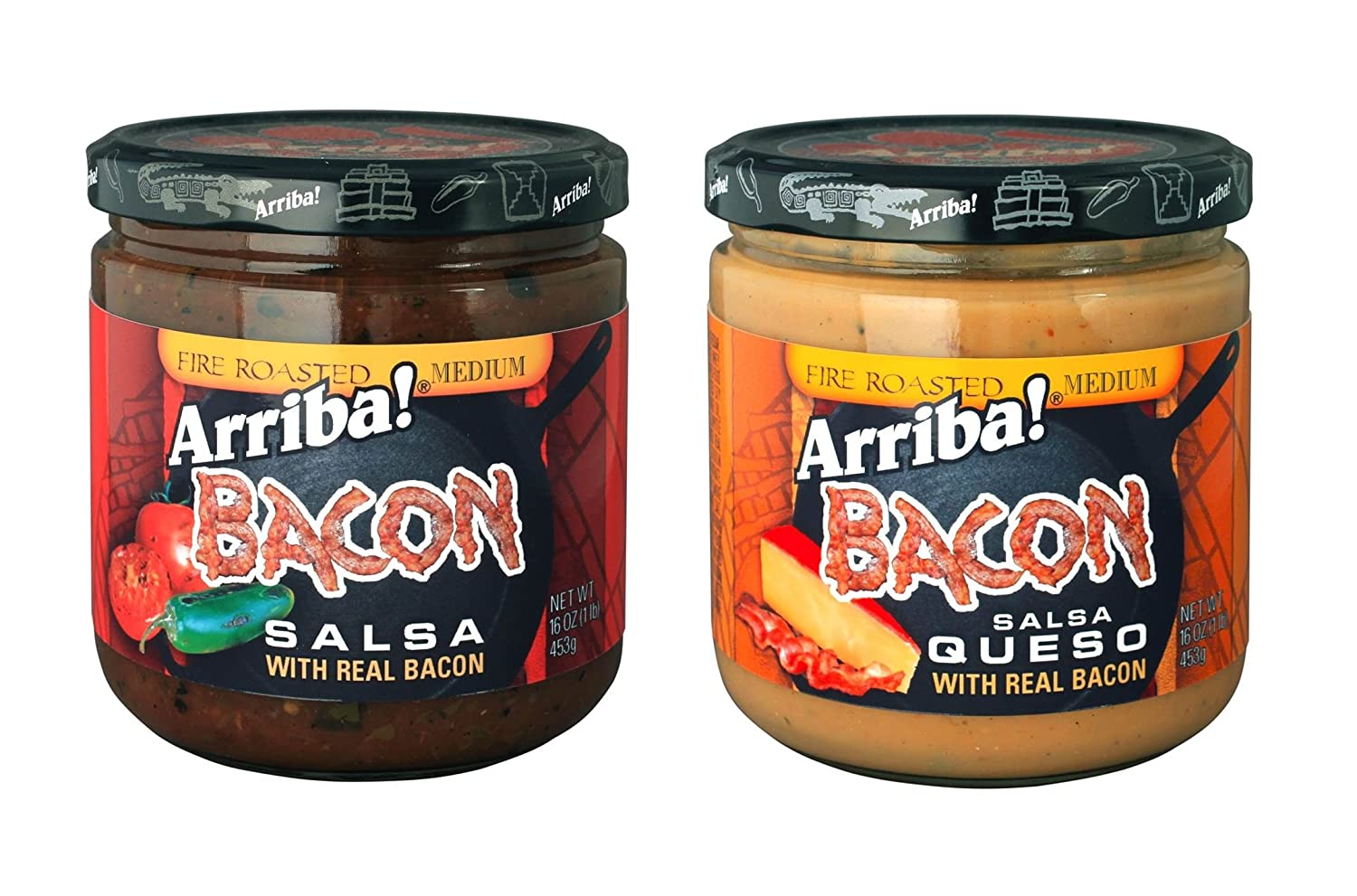 Bacon Salsa and Bacon Queso Salsa Variety Pack, 16 Ounce (Pack of 4)