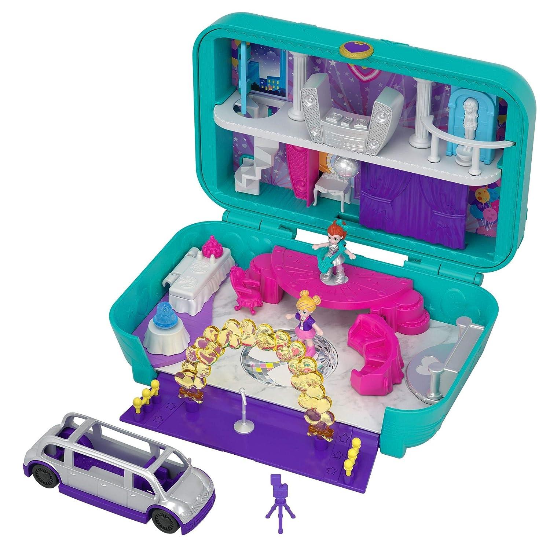 Polly Pocket Coffret Surprise-Party avec 2 Mini-Figurines et Accessoires, Autocollants et 5 Surprises Cachées, Jouet Enfant, édition 2018, FRY41 Mattel