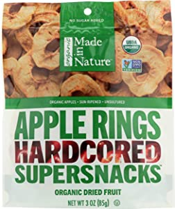 Made in Nature Dried Fruit, Organic, Apple Rings, 3 Oz