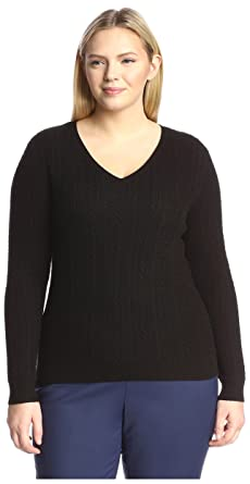 63efd48ca56 Amazon.com  SOCIETY NEW YORK Plus Women s Cable V-Neck Sweater ...