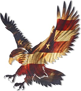 3D Metal Wall Art - Bald Eagle American Flag Wall Decor - Patriotic Country Wall Art - Handmade in the USA for Use Indoors or Outdoors
