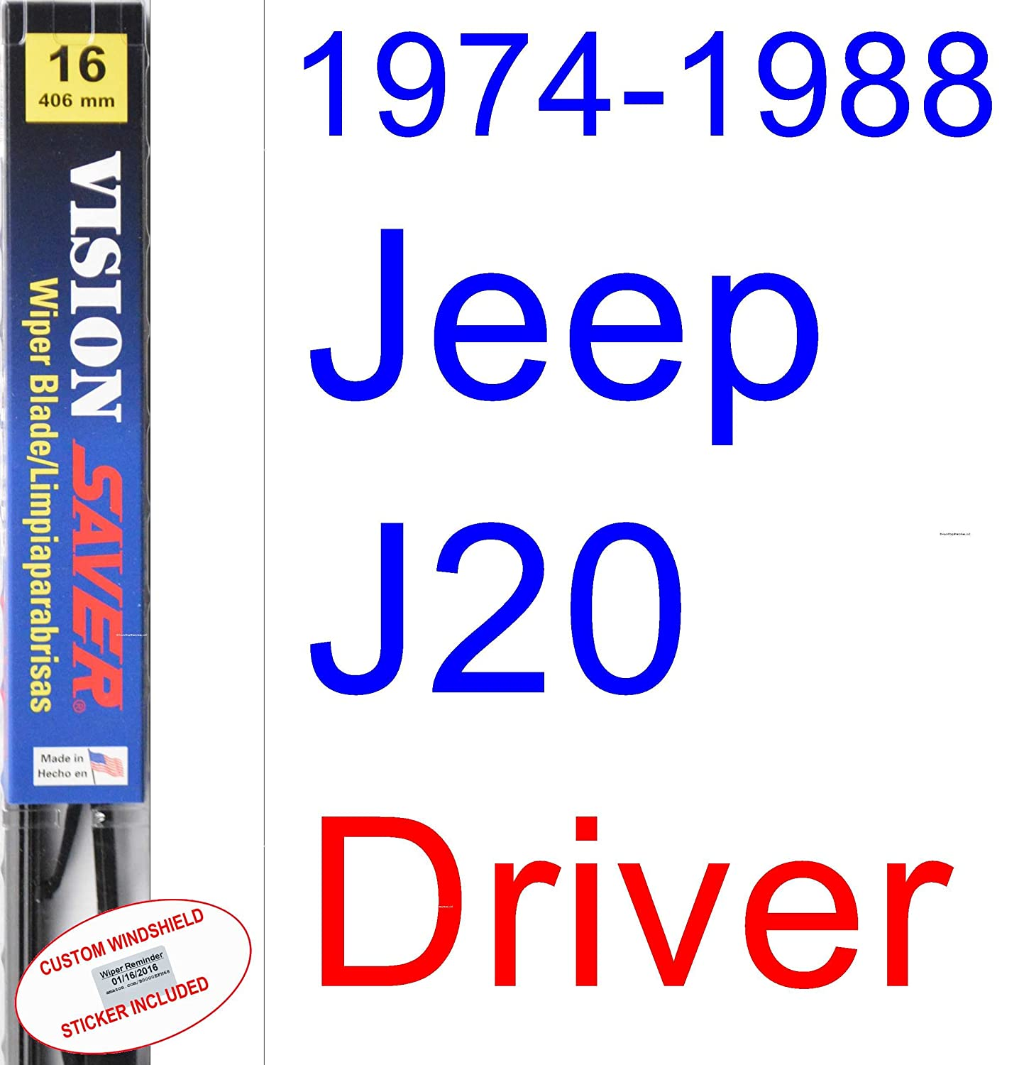 Amazon.com: 1974-1988 Jeep J20 Wiper Blade (Driver) (Saver Automotive Products-Vision Saver) (1975,1976,1977,1978,1979,1980,1981,1982,1983,1984,1985,1986 ...