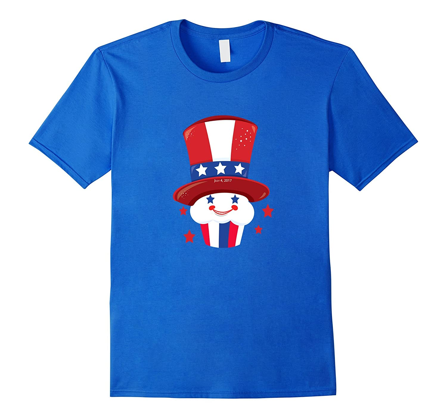 Red White & Blue Patriotic Cupcake with Hat July 4 Shirt