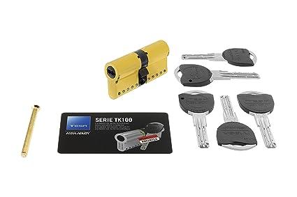 Tesa Assa Abloy TK154545L - Cilindro de alta Seguridad TK100, Latonado, 45 x 45