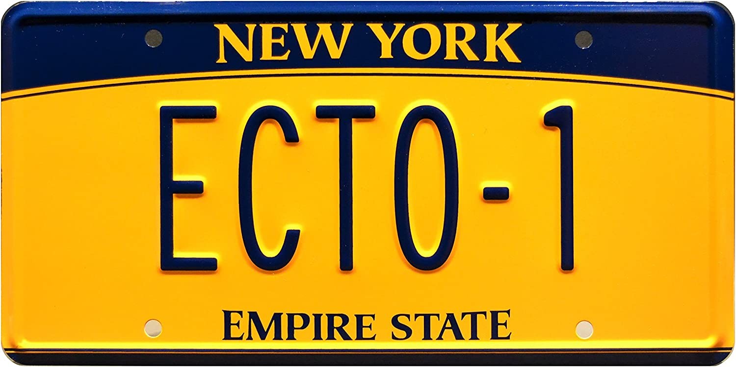 ECTO-1 Celebrity Machines Ghostbusters Metal Stamped Vanity Prop License Plate 59 Cadillac Hearse