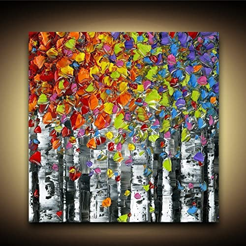 Amazon.com: Birch Trees PRINT Aspen Art Abstract Canvas Wall Art ...
