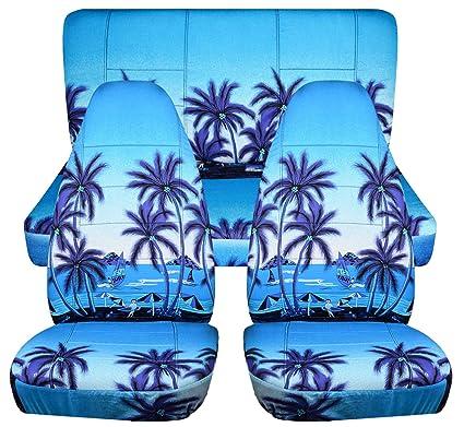 Hawaiian Car Seat Covers >> Hawaiian Print Car Seat Covers Blue W Palm Tree Semi Custom Fit Full Set Will Make Fit Any Car Truck Van Suv 6 Prints