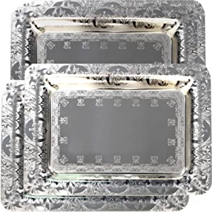 Maro Megastore (Pack of 4) 18.5-Inch x 13-Inch Rectangular Chrome Plated Serving Tray Floral Edge Engraved Decorative Holiday Wedding Birthday Buffet Party Snack Wine Plate Platter 1774 L Tla-069
