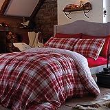 Flannelette Red Tartan check Reversible 100 % Cotton Flannelette Duvet Set Luxury Bedding Set Double Bed Size Red