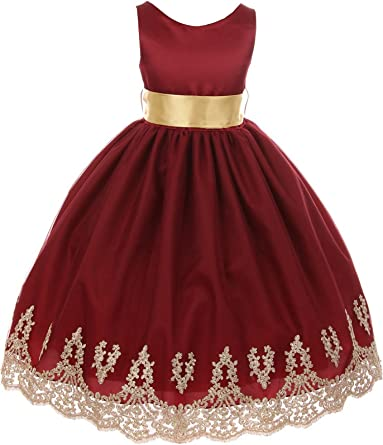 Chic Baby Big Girls Burgundy Gold Lace