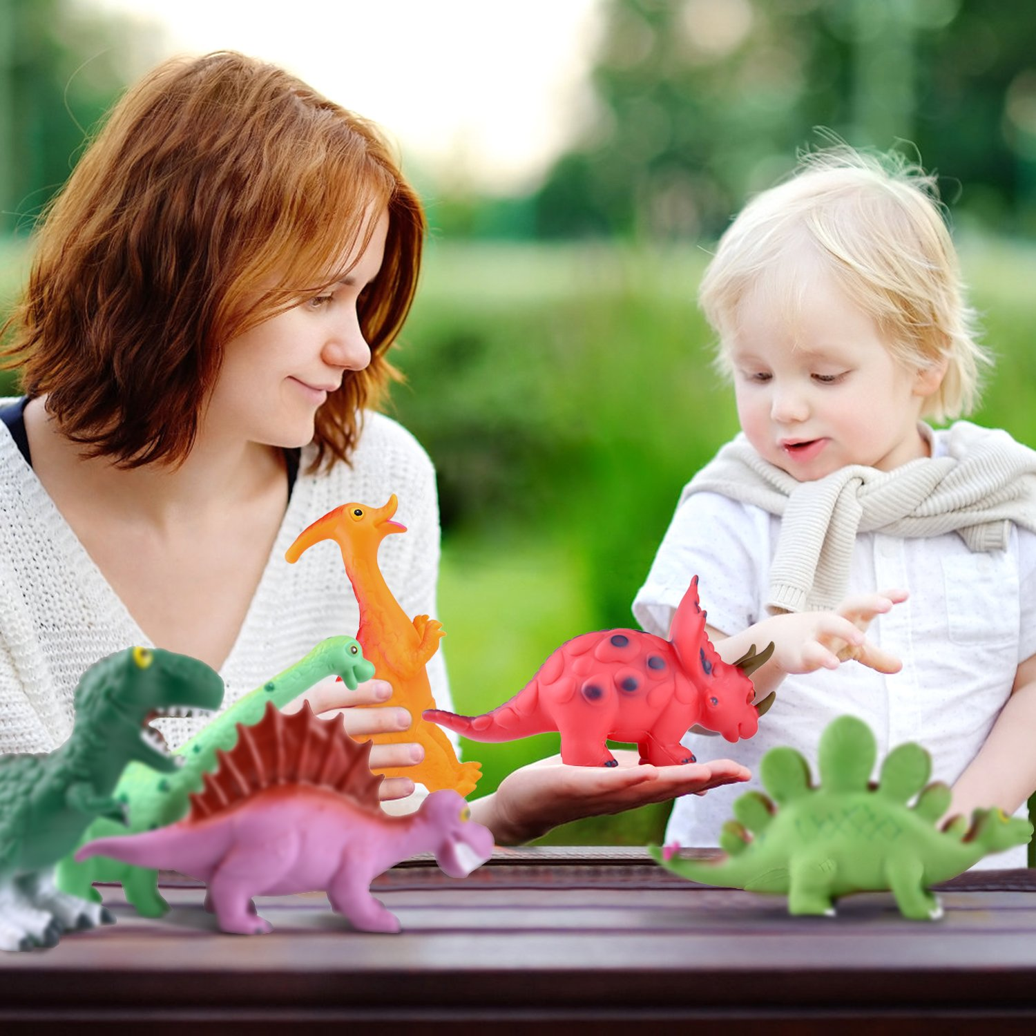 Toddler Birthday Gifts FUN LITTLE TOYS 6 Pack Dinosaur Figures Playset Water Squirt Toys Party Favors Perfect as Bathtub Toys 9 to 12 Dinosaur Baby Bath Toys Dinosaur Party Supplies