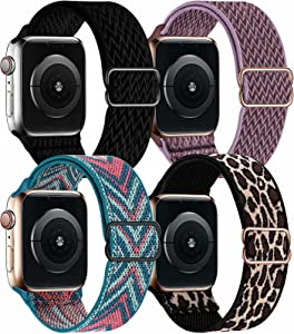 OHCBOOGIE 4 Pack Nylon Solo Loop Compatible with Apple Watch Bands,Stretch Adjustable Soft Sport Breathable Straps for Iwatch Series 6/5/4/3/2/1/SE,Black/Smokey Mauve/Green Arrow/Lepoard,38/40mm