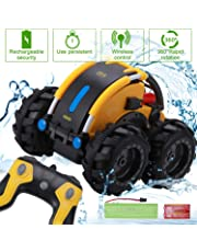 Apsung RC Stunt Car, Remote Control Car for Boys, Land and Water 2 in 1 360 Rotating Tumbling Car Toy Rechargeable Truck Toys for Kids Birthday