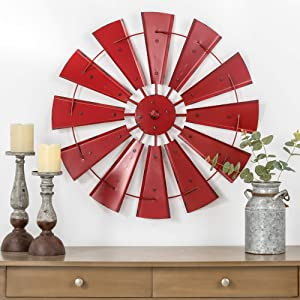 "Glitzhome 28"" Farmhouse Galvanized Windmill Wall Sculpture Home Decor Rustic Metal Rustic Wall Art Decoration, Red"