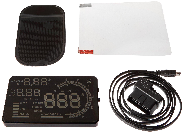 iRULU A8 Head Up Display OBD2 or EUOBD Car Speed HUD Plug & Play - 5.5'' Color Screen