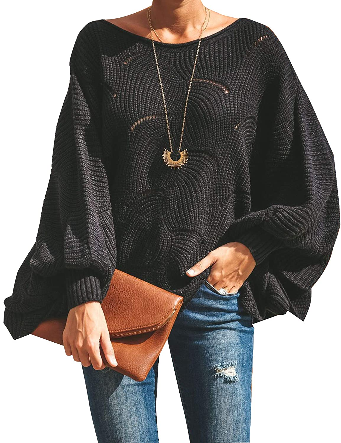 Relipop Women s Pullover Batwing Sleeve Loose Hollow Knit Sweaters at  Amazon Women s Clothing store  81123310d