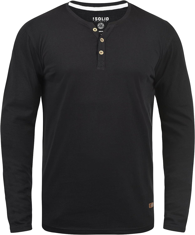 Solid Volko Camiseta Básica De Manga Larga Longsleeve para Hombre con Cuello Grandad: Amazon.es: Ropa y accesorios