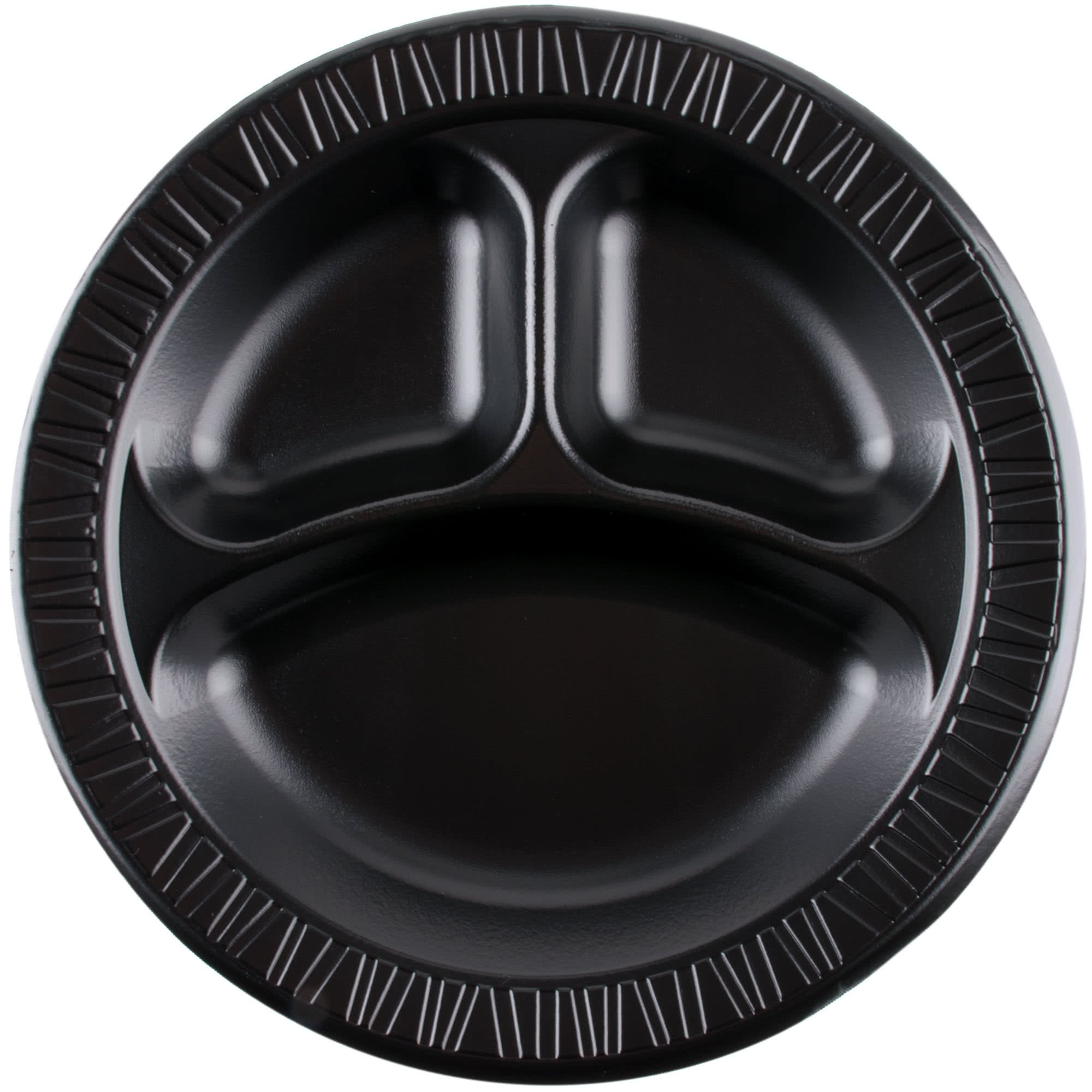 TableTop King 10CPBQR Quiet Classic 10 1/4'' 3 Compartment Black Laminated Round Foam Plate - 500/Case by TableTop King
