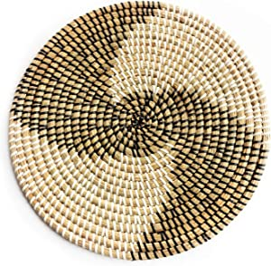 Rattan Trivets for Hot Dishes - Woven Trivets Handmade Placemats for Dining Table - Boho Wall Hanging Decorative Plate - Rattan Wall Decor - Subtle Gifts for Friends (35cm/13.7in)