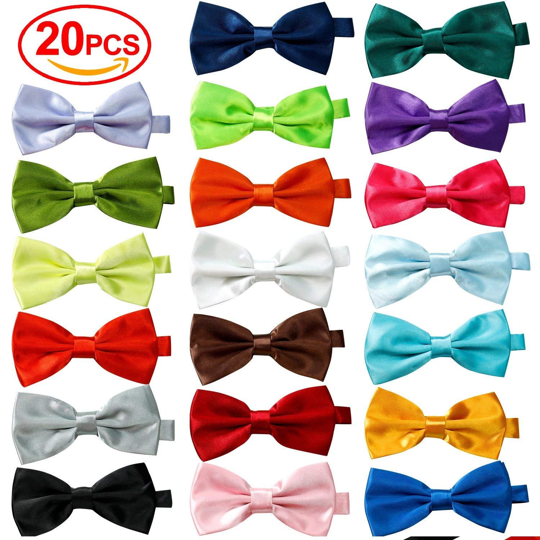 20 Pcs Elegant Bow ties Formal Set,with Adjustable Neck Band